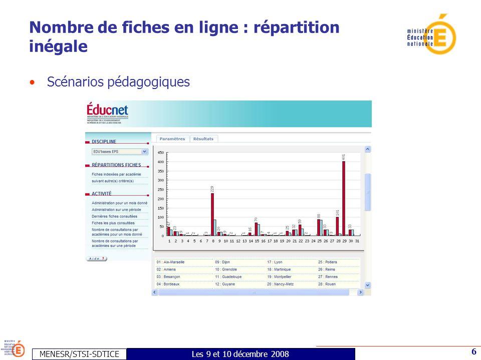 MENESR/STSI-SDTICE 6 Les 9 et 10 décembre 2008 Nombre de fiches en ligne : répartition inégale •Scénarios pédagogiques