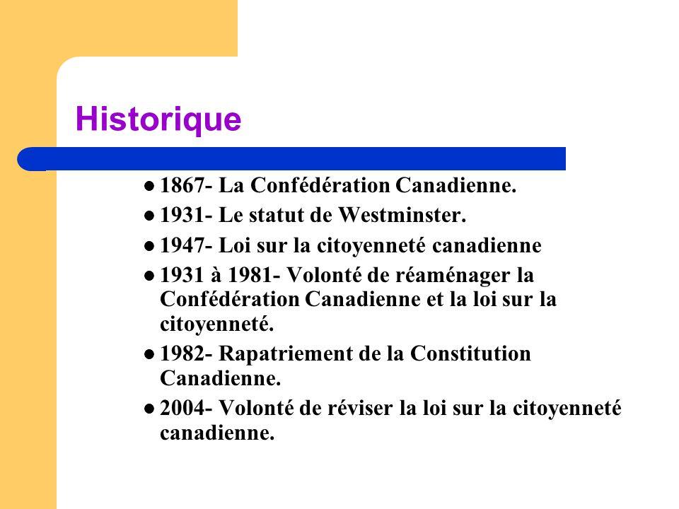 Historique  1867- La Confédération Canadienne.  1931- Le statut de Westminster.  1947- Loi sur la citoyenneté canadienne  1931 à 1981- Volonté de