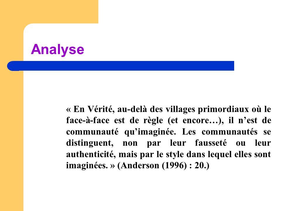 Analyse « En Vérité, au-delà des villages primordiaux où le face-à-face est de règle (et encore…), il n'est de communauté qu'imaginée. Les communautés