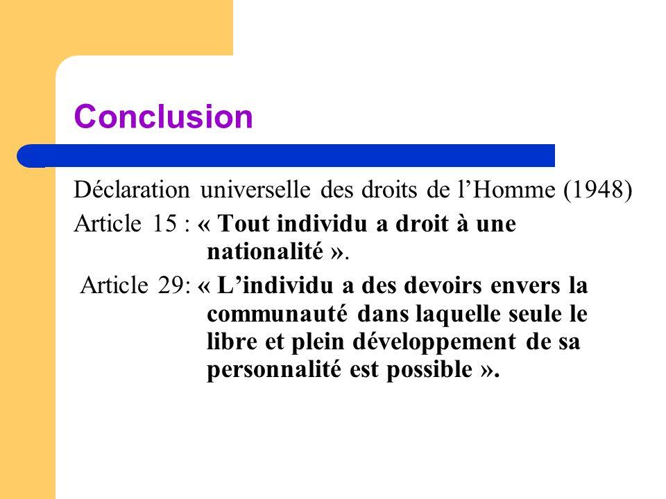 Conclusion Déclaration universelle des droits de l'Homme (1948) Article 15 : « Tout individu a droit à une nationalité ». Article 29: « L'individu a d