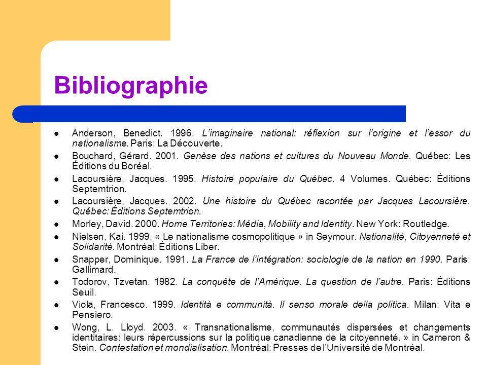 Bibliographie  Anderson, Benedict. 1996. L'imaginaire national: réflexion sur l'origine et l'essor du nationalisme. Paris: La Découverte.  Bouchard,