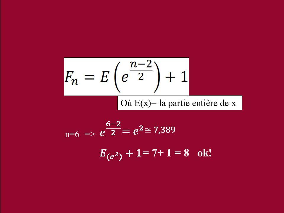 Où E(x)= la partie entière de x n=6 => = 7+ 1 = 8 ok!