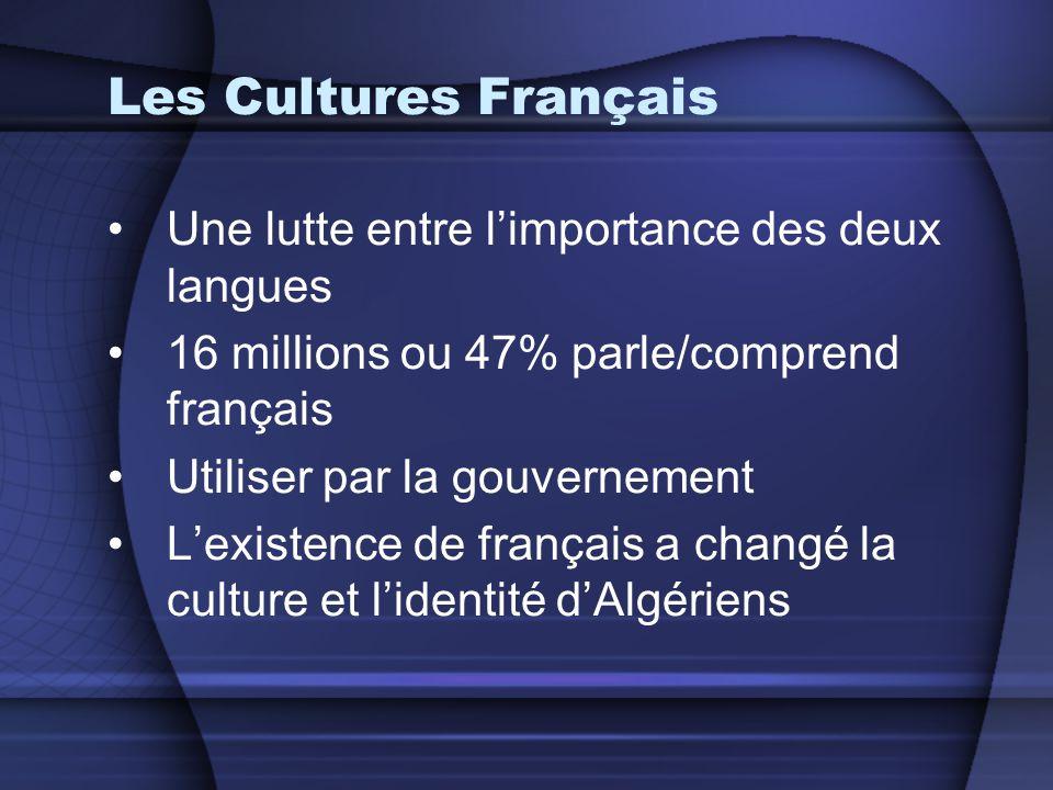 Les Cultures Français •Une lutte entre l'importance des deux langues •16 millions ou 47% parle/comprend français •Utiliser par la gouvernement •L'exis