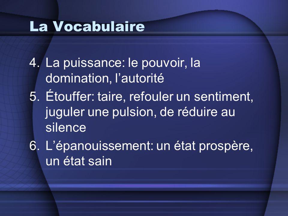 La Vocabulaire 4.La puissance: le pouvoir, la domination, l'autorité 5.Étouffer: taire, refouler un sentiment, juguler une pulsion, de réduire au sile