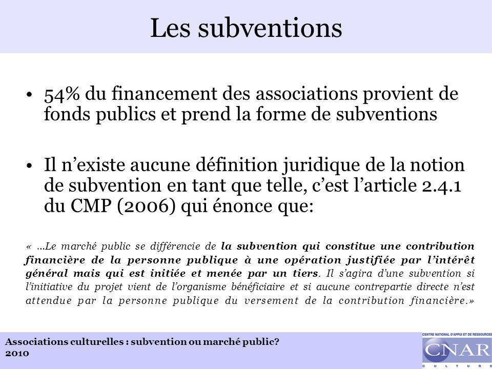 Associations culturelles : subvention ou marché public.