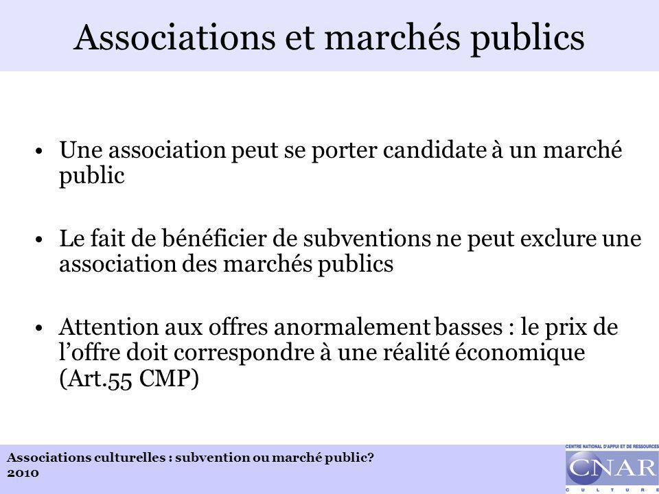 Associations culturelles : subvention ou marché public.