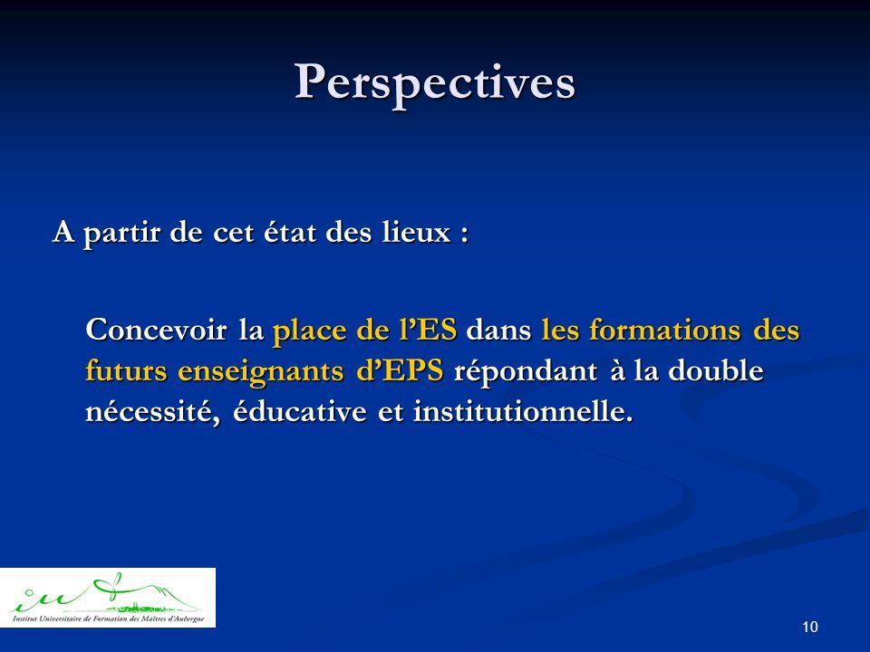 10 Perspectives A partir de cet état des lieux : Concevoir la place de l'ES dans les formations des futurs enseignants d'EPS répondant à la double nécessité, éducative et institutionnelle.
