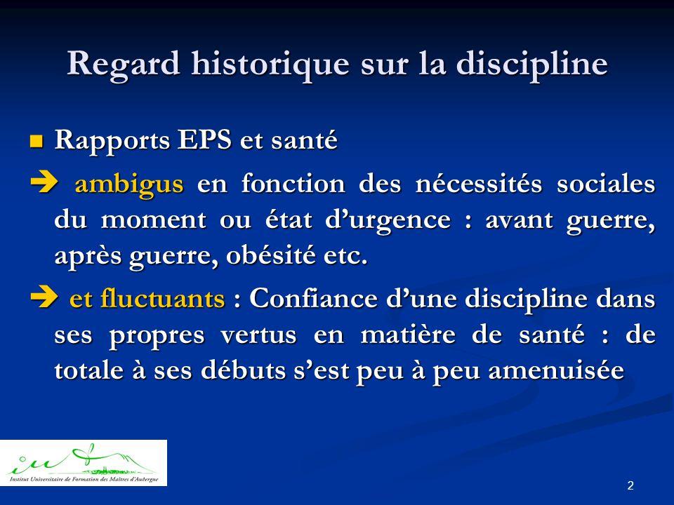 2 Regard historique sur la discipline  Rapports EPS et santé  ambigus en fonction des nécessités sociales du moment ou état d'urgence : avant guerre, après guerre, obésité etc.