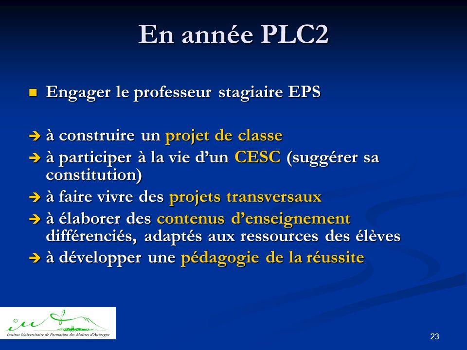 23 En année PLC2  Engager le professeur stagiaire EPS  à construire un projet de classe  à participer à la vie d'un CESC (suggérer sa constitution)  à faire vivre des projets transversaux  à élaborer des contenus d'enseignement différenciés, adaptés aux ressources des élèves  à développer une pédagogie de la réussite