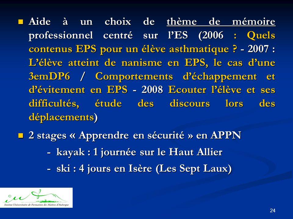 24  Aide à un choix de thème de mémoire professionnel centré sur l'ES (2006 : Quels contenus EPS pour un élève asthmatique .