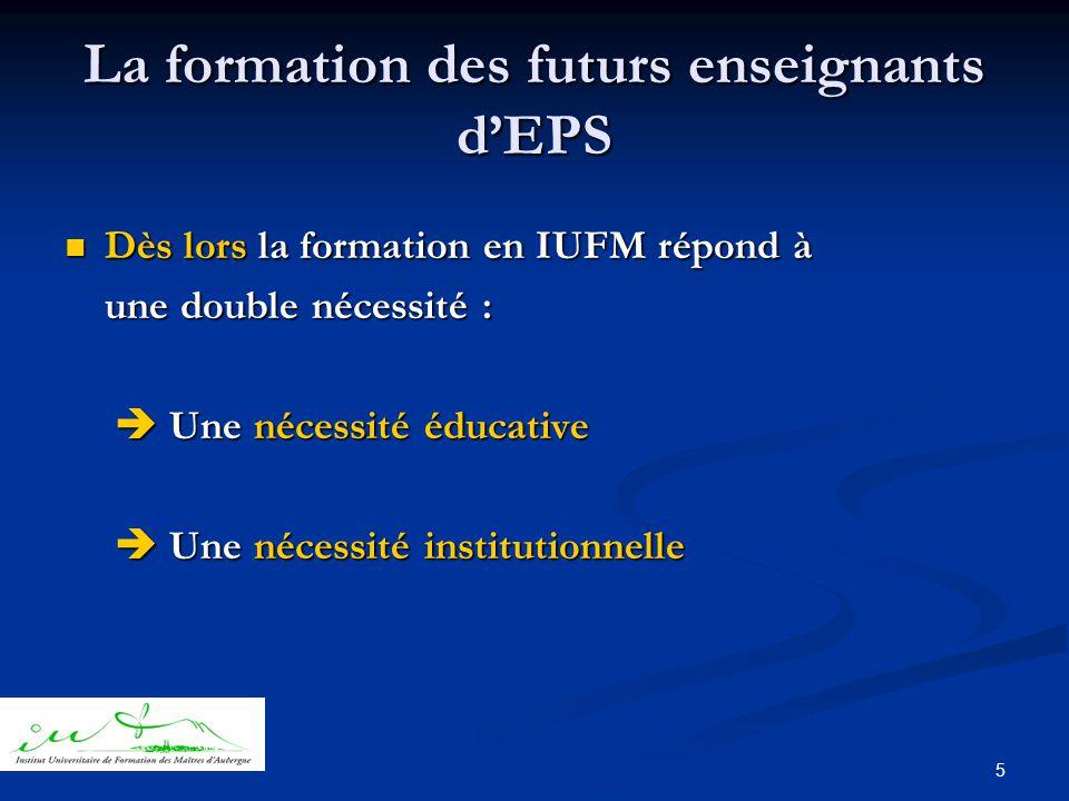 5 La formation des futurs enseignants d'EPS  Dès lors la formation en IUFM répond à une double nécessité :  Une nécessité éducative  Une nécessité éducative  Une nécessité institutionnelle  Une nécessité institutionnelle
