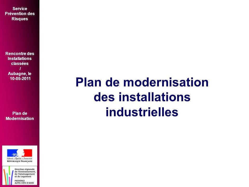 Service Prévention des Risques Rencontre des Installations classées / Aubagne, le 10-05-2011 Plan de Modernisation Plan de modernisation des installations industrielles
