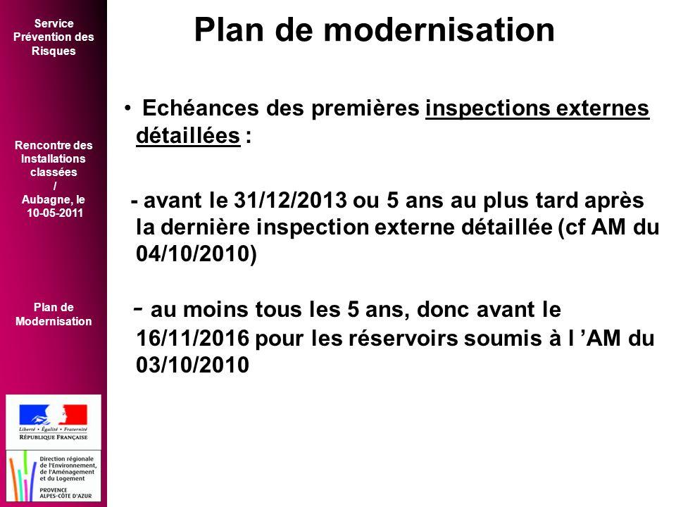 Service Prévention des Risques Rencontre des Installations classées / Aubagne, le 10-05-2011 Plan de Modernisation • Echéances des premières inspections externes détaillées : - avant le 31/12/2013 ou 5 ans au plus tard après la dernière inspection externe détaillée (cf AM du 04/10/2010) - au moins tous les 5 ans, donc avant le 16/11/2016 pour les réservoirs soumis à l 'AM du 03/10/2010 Plan de modernisation