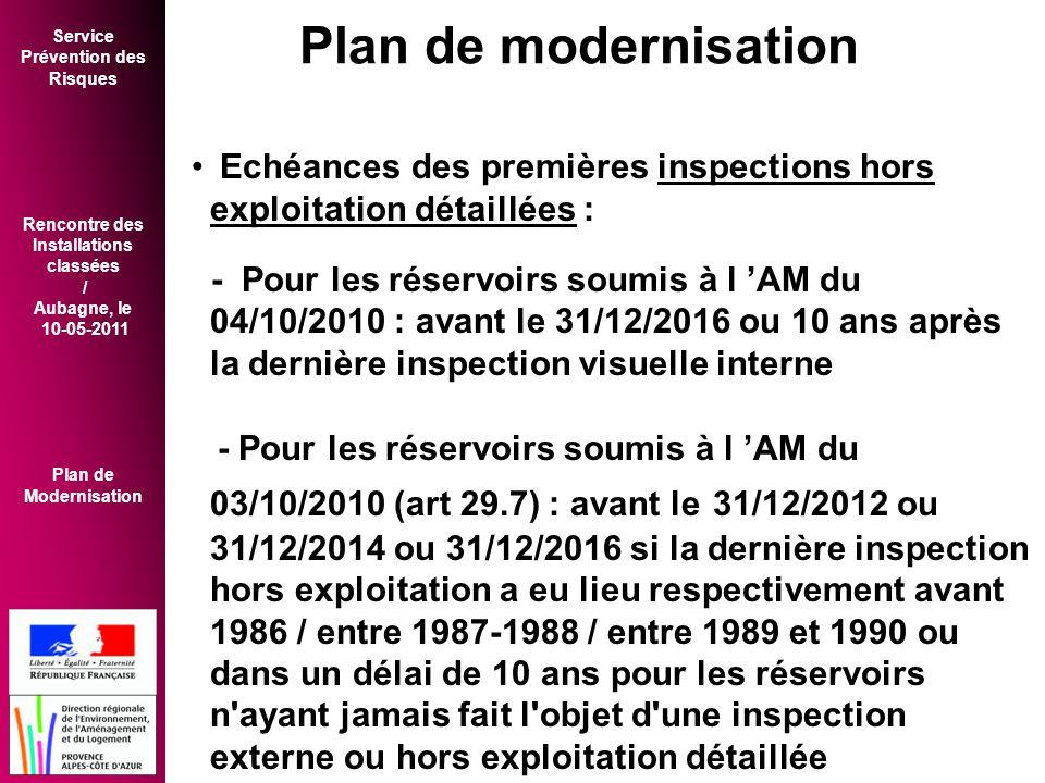 Service Prévention des Risques Rencontre des Installations classées / Aubagne, le 10-05-2011 Plan de Modernisation • Echéances des premières inspections hors exploitation détaillées : - Pour les réservoirs soumis à l 'AM du 04/10/2010 : avant le 31/12/2016 ou 10 ans après la dernière inspection visuelle interne - Pour les réservoirs soumis à l 'AM du 03/10/2010 (art 29.7) : avant le 31/12/2012 ou 31/12/2014 ou 31/12/2016 si la dernière inspection hors exploitation a eu lieu respectivement avant 1986 / entre 1987-1988 / entre 1989 et 1990 ou dans un délai de 10 ans pour les réservoirs n ayant jamais fait l objet d une inspection externe ou hors exploitation détaillée Plan de modernisation