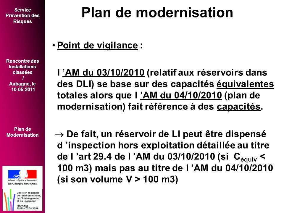 Service Prévention des Risques Rencontre des Installations classées / Aubagne, le 10-05-2011 Plan de Modernisation •Point de vigilance : l 'AM du 03/10/2010 (relatif aux réservoirs dans des DLI) se base sur des capacités équivalentes totales alors que l 'AM du 04/10/2010 (plan de modernisation) fait référence à des capacités.