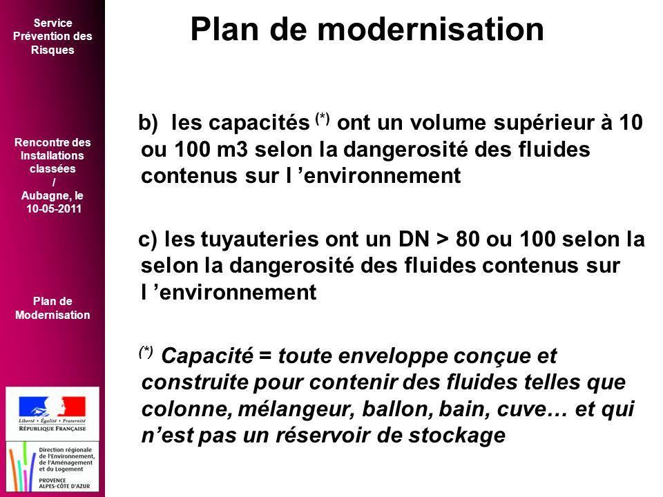 Service Prévention des Risques Rencontre des Installations classées / Aubagne, le 10-05-2011 Plan de Modernisation b) les capacités (*) ont un volume supérieur à 10 ou 100 m3 selon la dangerosité des fluides contenus sur l 'environnement c) les tuyauteries ont un DN > 80 ou 100 selon la selon la dangerosité des fluides contenus sur l 'environnement (*) Capacité = toute enveloppe conçue et construite pour contenir des fluides telles que colonne, mélangeur, ballon, bain, cuve… et qui n'est pas un réservoir de stockage Plan de modernisation