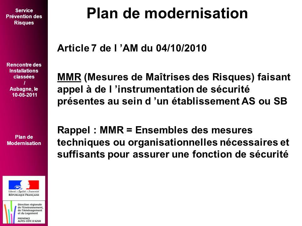 Service Prévention des Risques Rencontre des Installations classées / Aubagne, le 10-05-2011 Plan de Modernisation Article 7 de l 'AM du 04/10/2010 MMR (Mesures de Maîtrises des Risques) faisant appel à de l 'instrumentation de sécurité présentes au sein d 'un établissement AS ou SB Rappel : MMR = Ensembles des mesures techniques ou organisationnelles nécessaires et suffisants pour assurer une fonction de sécurité Plan de modernisation