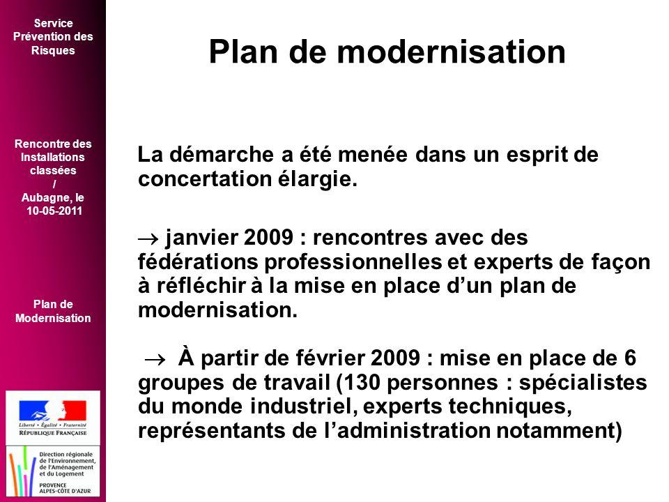 Service Prévention des Risques Rencontre des Installations classées / Aubagne, le 10-05-2011 Plan de Modernisation Plan de modernisation La démarche a été menée dans un esprit de concertation élargie.