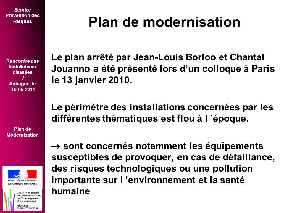 Service Prévention des Risques Rencontre des Installations classées / Aubagne, le 10-05-2011 Plan de Modernisation Plan de modernisation Le plan arrêté par Jean-Louis Borloo et Chantal Jouanno a été présenté lors d'un colloque à Paris le 13 janvier 2010.