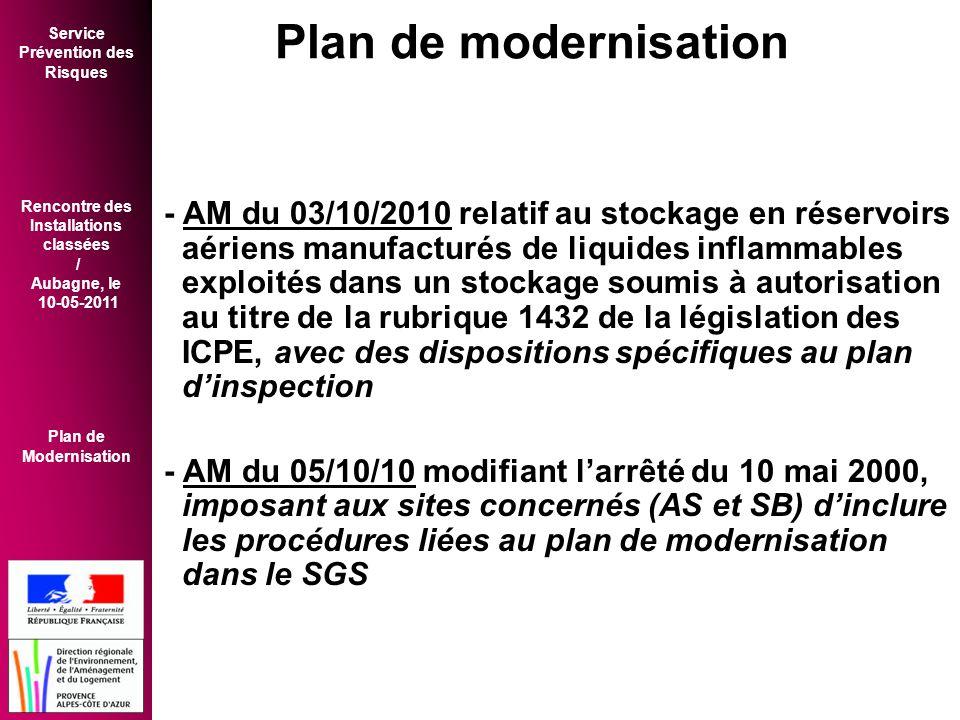 Service Prévention des Risques Rencontre des Installations classées / Aubagne, le 10-05-2011 Plan de Modernisation - AM du 03/10/2010 relatif au stockage en réservoirs aériens manufacturés de liquides inflammables exploités dans un stockage soumis à autorisation au titre de la rubrique 1432 de la législation des ICPE, avec des dispositions spécifiques au plan d'inspection - AM du 05/10/10 modifiant l'arrêté du 10 mai 2000, imposant aux sites concernés (AS et SB) d'inclure les procédures liées au plan de modernisation dans le SGS Plan de modernisation
