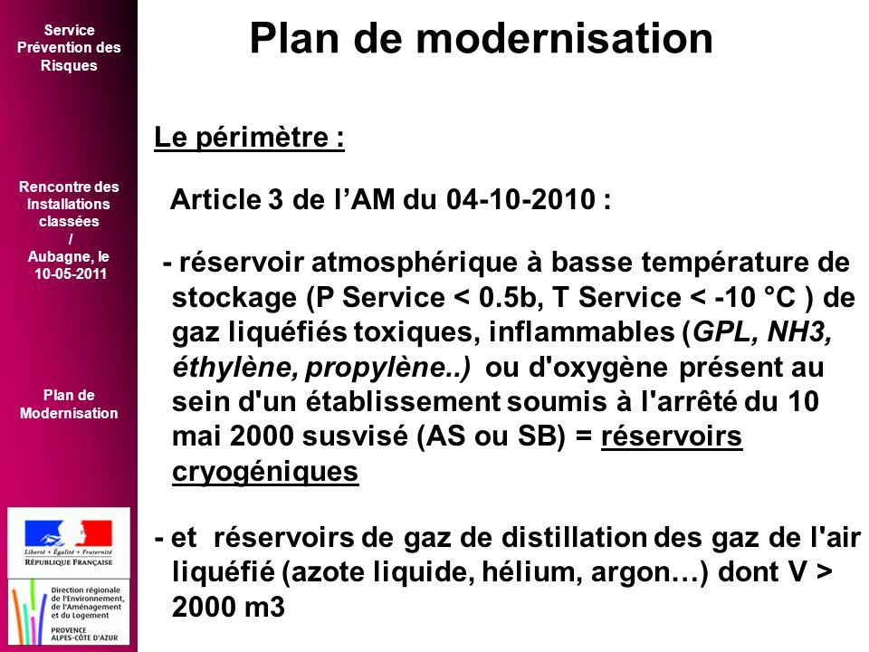 Service Prévention des Risques Rencontre des Installations classées / Aubagne, le 10-05-2011 Plan de Modernisation Le périmètre : Article 3 de l'AM du 04-10-2010 : - réservoir atmosphérique à basse température de stockage (P Service < 0.5b, T Service < -10 °C ) de gaz liquéfiés toxiques, inflammables (GPL, NH3, éthylène, propylène..) ou d oxygène présent au sein d un établissement soumis à l arrêté du 10 mai 2000 susvisé (AS ou SB) = réservoirs cryogéniques - et réservoirs de gaz de distillation des gaz de l air liquéfié (azote liquide, hélium, argon…) dont V > 2000 m3 Plan de modernisation