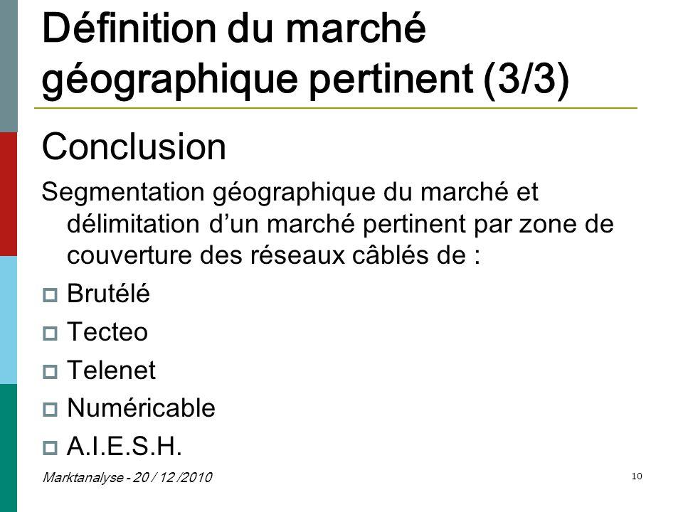 Définition du marché géographique pertinent (3/3) Conclusion Segmentation géographique du marché et délimitation d'un marché pertinent par zone de couverture des réseaux câblés de :  Brutélé  Tecteo  Telenet  Numéricable  A.I.E.S.H.