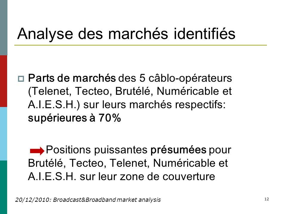 12 Analyse des marchés identifiés  Parts de marchés des 5 câblo-opérateurs (Telenet, Tecteo, Brutélé, Numéricable et A.I.E.S.H.) sur leurs marchés respectifs: supérieures à 70% Positions puissantes présumées pour Brutélé, Tecteo, Telenet, Numéricable et A.I.E.S.H.