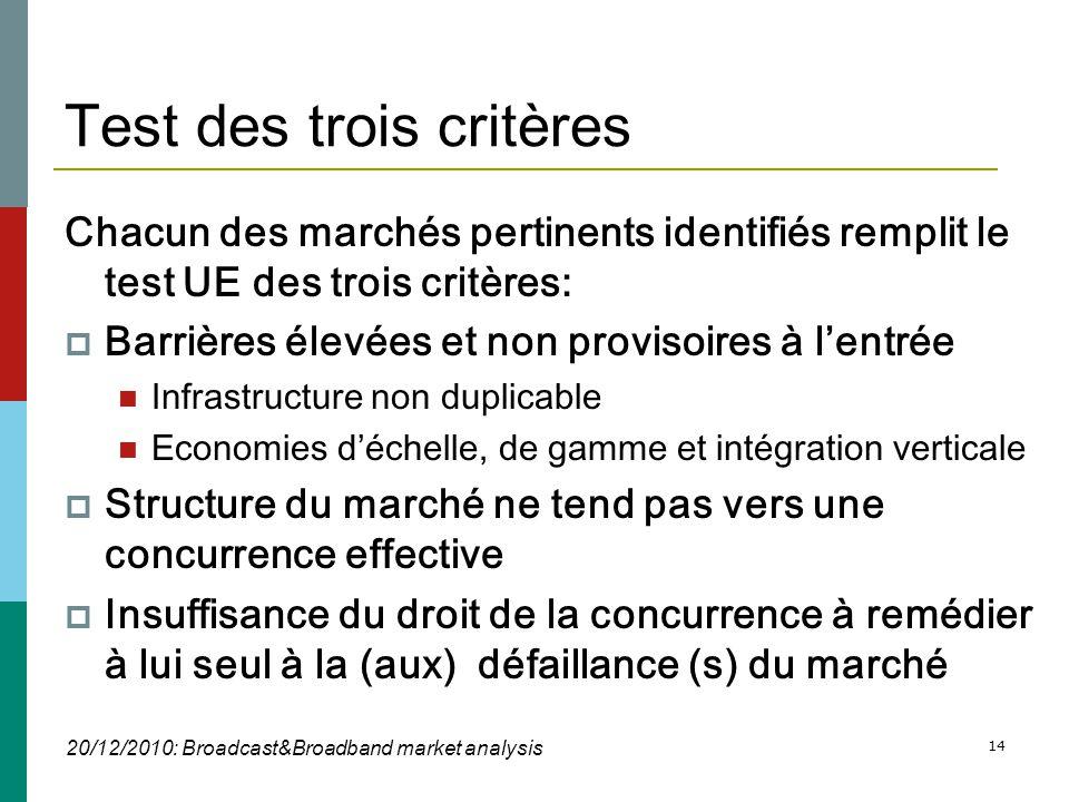 14 Test des trois critères Chacun des marchés pertinents identifiés remplit le test UE des trois critères:  Barrières élevées et non provisoires à l'entrée  Infrastructure non duplicable  Economies d'échelle, de gamme et intégration verticale  Structure du marché ne tend pas vers une concurrence effective  Insuffisance du droit de la concurrence à remédier à lui seul à la (aux) défaillance (s) du marché 20/12/2010: Broadcast&Broadband market analysis