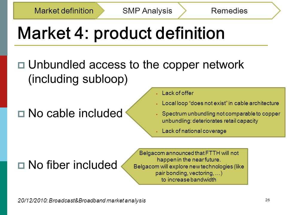 26 Market 4: product definition  Unbundled access to the copper network (including subloop)  No cable included  No fiber included Market definition