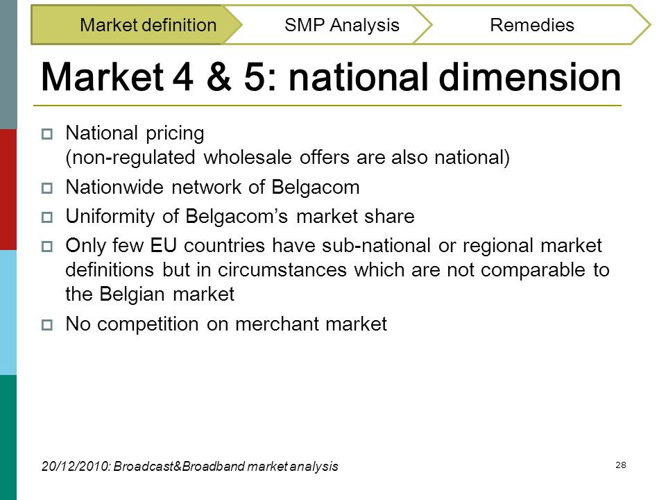 28 Market 4 & 5: national dimension  National pricing (non-regulated wholesale offers are also national)  Nationwide network of Belgacom  Uniformit