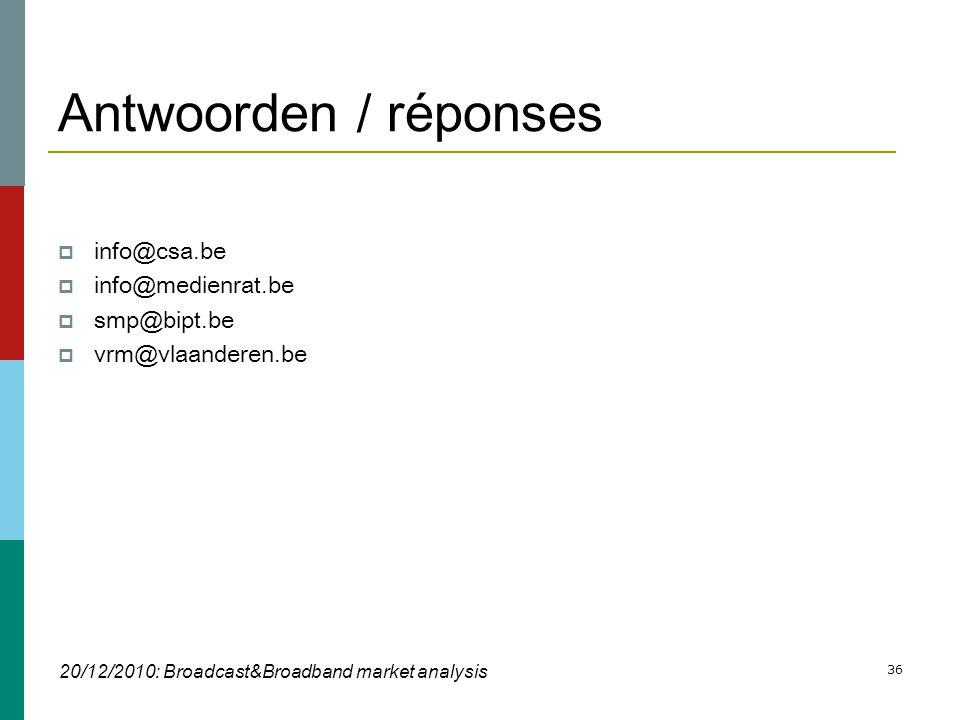 36 Antwoorden / réponses  info@csa.be  info@medienrat.be  smp@bipt.be  vrm@vlaanderen.be 20/12/2010: Broadcast&Broadband market analysis