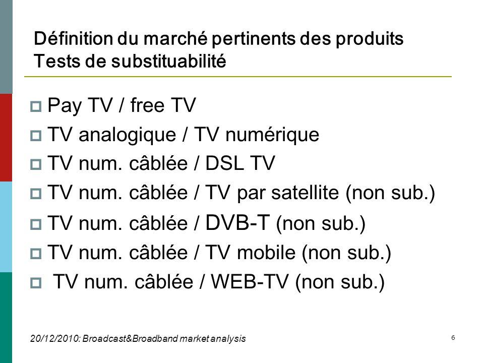 20/12/2010: Broadcast&Broadband market analysis 6 Définition du marché pertinents des produits Tests de substituabilité  Pay TV / free TV  TV analogique / TV numérique  TV num.