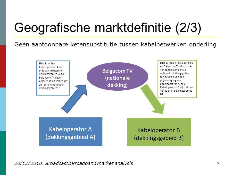 Geografische marktdefinitie (2/3) 20/12/2010: Broadcast&Broadband market analysis 9 Kabeloperator A (dekkingsgebied A) Kabeloperator B (dekkingsgebied B) Belgacom TV (nationale dekking) Link 2: Indien link 1 geldig is en Belgacom TV zijn prijzen verlaagt in zijn gehele nationale dekkingsgebied ten gevolge van een prijsverlaging van Kabeloperator A, zou Kabeloperator B zijn prijzen verlagen in dekkingsgebied B.