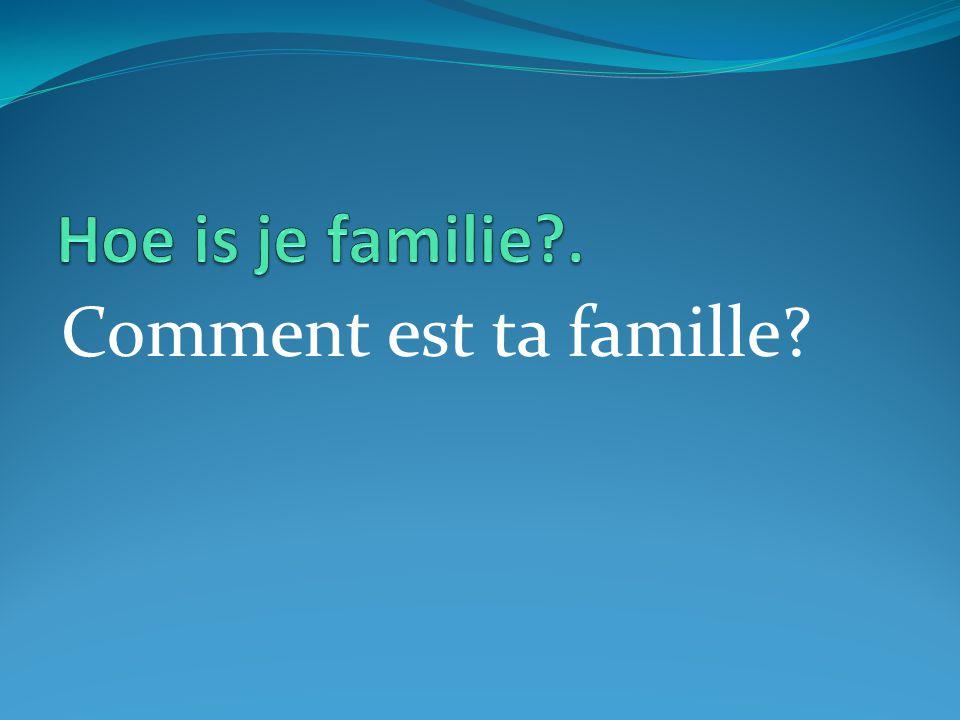 Comment est ta famille?