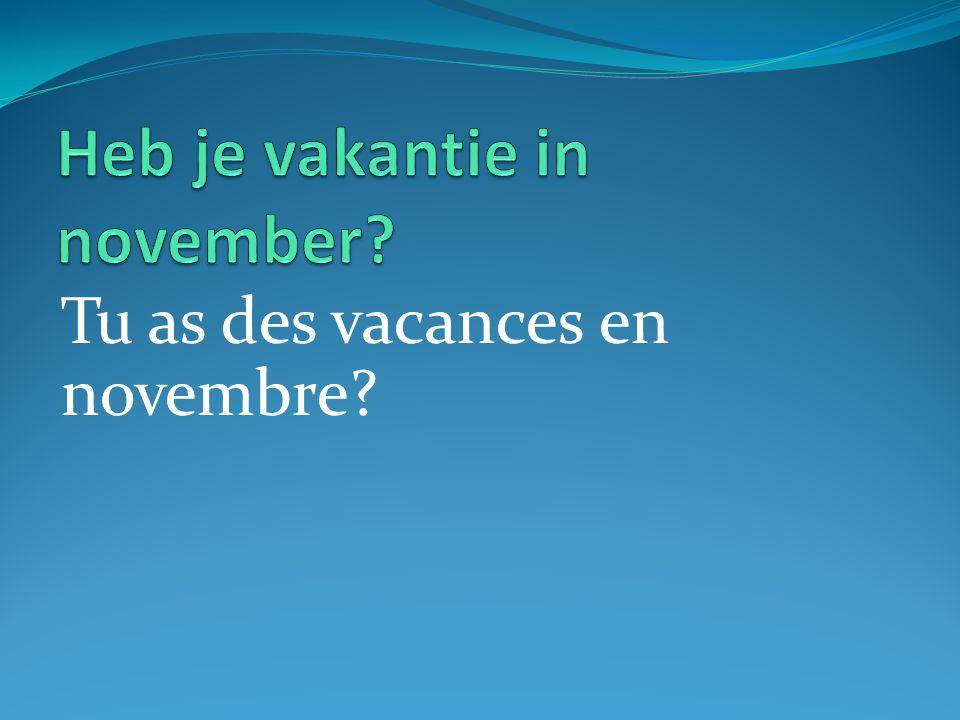 Tu as des vacances en novembre?