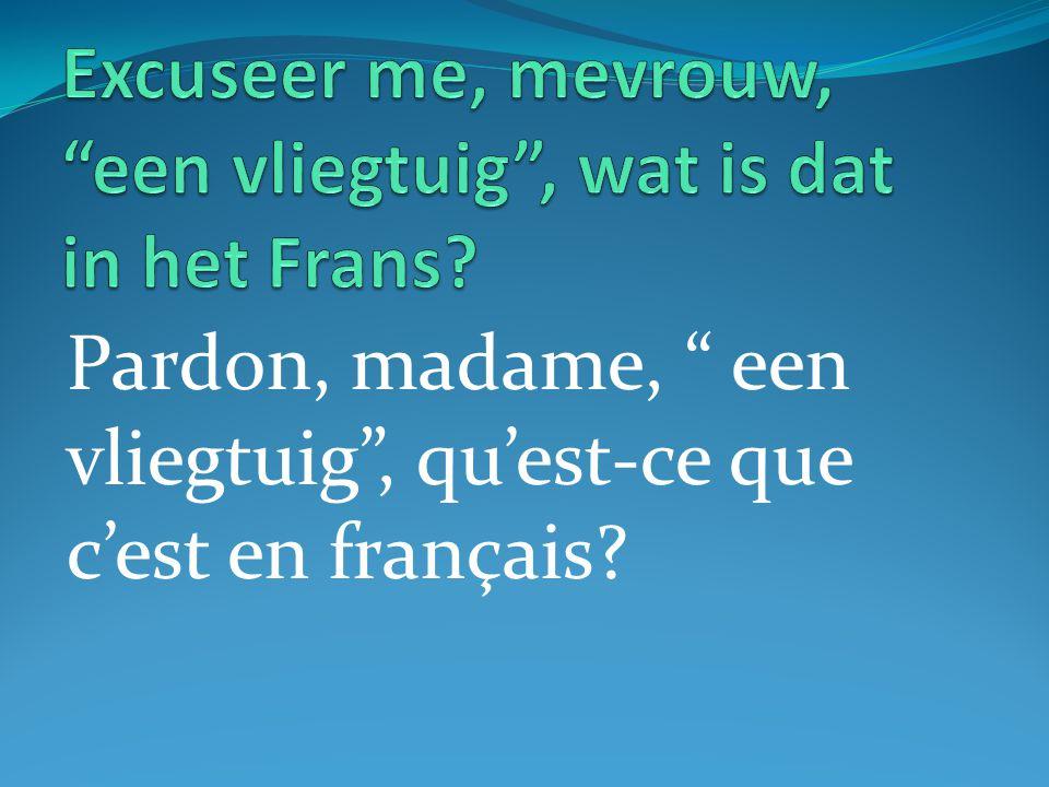 Pardon, madame, een vliegtuig , qu'est-ce que c'est en français?