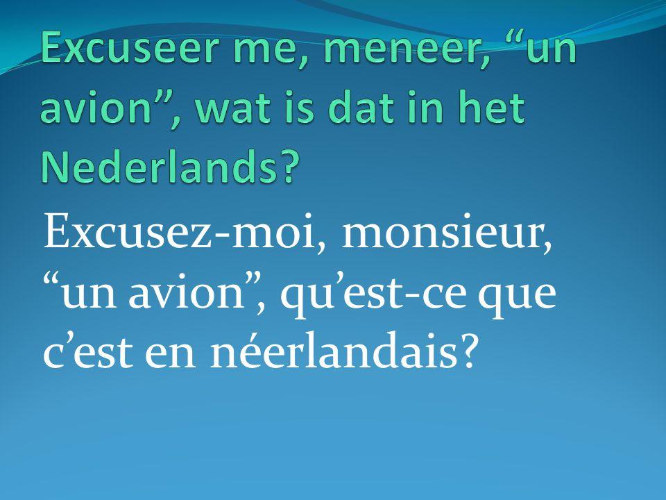 Excusez-moi, monsieur, un avion , qu'est-ce que c'est en néerlandais?