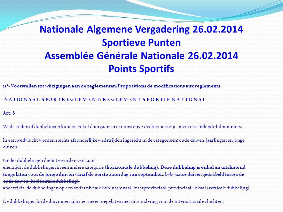 Nationale Algemene Vergadering 26.02.2014 Sportieve Punten Assemblée Générale Nationale 26.02.2014 Points Sportifs 11°- Voorstellen tot wijzigingen aa