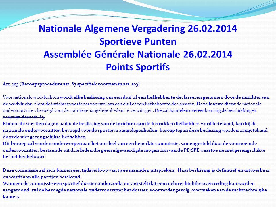 Nationale Algemene Vergadering 26.02.2014 Sportieve Punten Assemblée Générale Nationale 26.02.2014 Points Sportifs Art. 103 (Beroepsprocedure art. 83