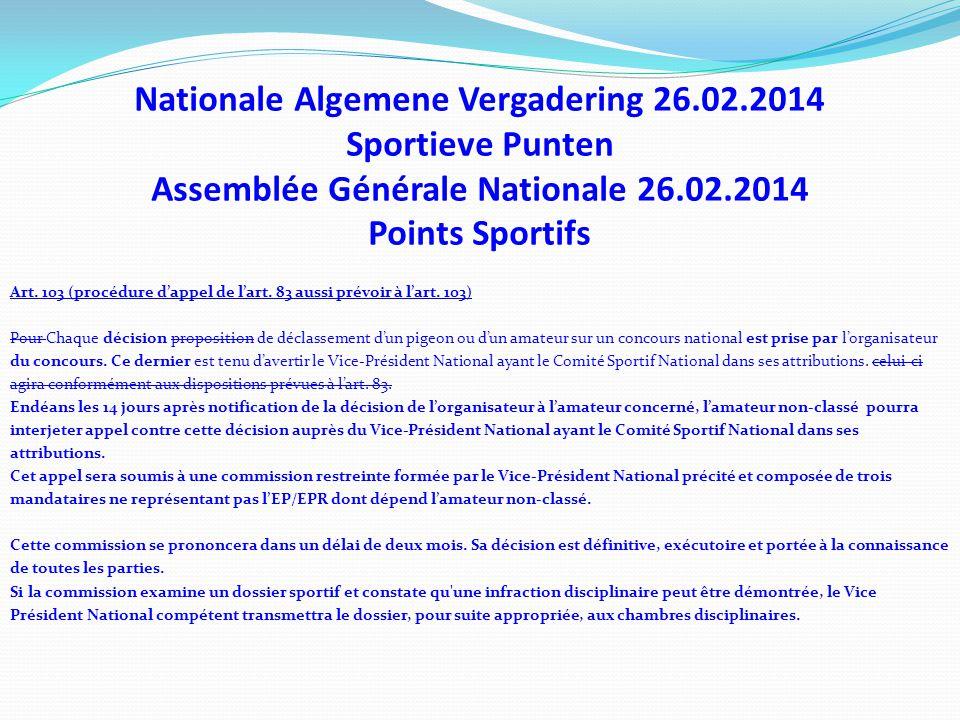Nationale Algemene Vergadering 26.02.2014 Sportieve Punten Assemblée Générale Nationale 26.02.2014 Points Sportifs Art. 103 (procédure d'appel de l'ar