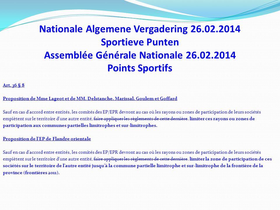 Nationale Algemene Vergadering 26.02.2014 Sportieve Punten Assemblée Générale Nationale 26.02.2014 Points Sportifs Art. 36 § 8 Proposition de Mme Lage