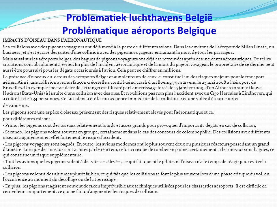 Problematiek luchthavens België Problématique aéroports Belgique IMPACTS D'OISEAU DANS L'AÉRONAUTIQUE Les collisions avec des pigeons voyageurs ont déjà mené à la perte de différents avions.