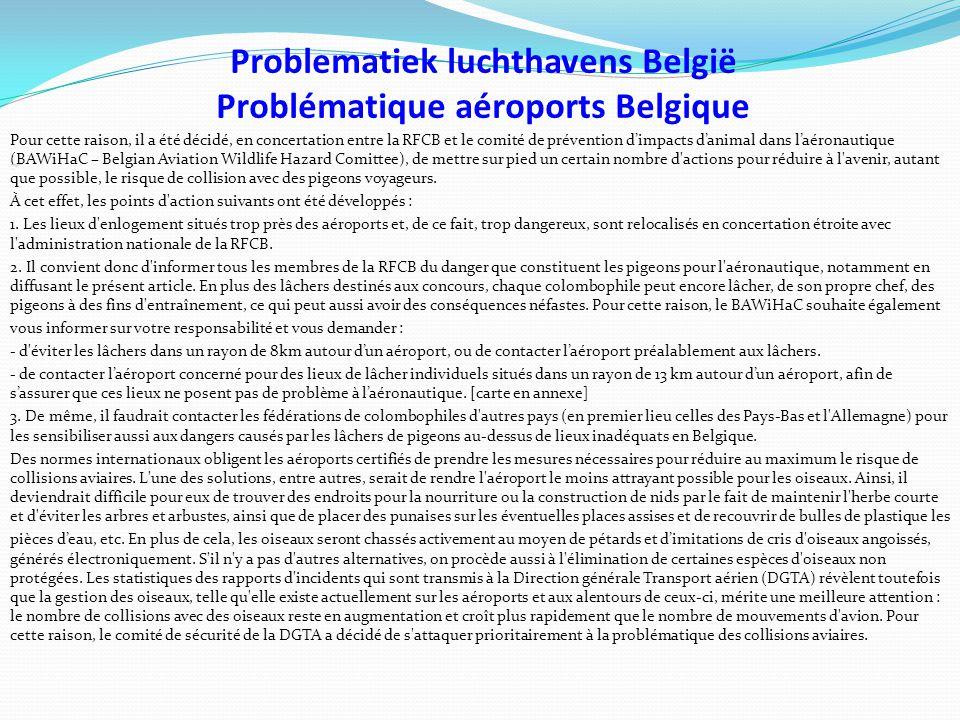 Problematiek luchthavens België Problématique aéroports Belgique Pour cette raison, il a été décidé, en concertation entre la RFCB et le comité de prévention d'impacts d'animal dans l'aéronautique (BAWiHaC – Belgian Aviation Wildlife Hazard Comittee), de mettre sur pied un certain nombre d actions pour réduire à l avenir, autant que possible, le risque de collision avec des pigeons voyageurs.