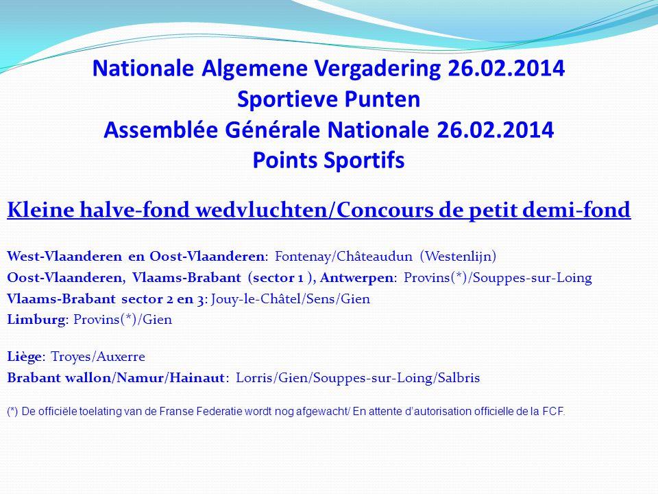 Nationale Algemene Vergadering 26.02.2014 Sportieve Punten Assemblée Générale Nationale 26.02.2014 Points Sportifs Kleine halve-fond wedvluchten/Conco