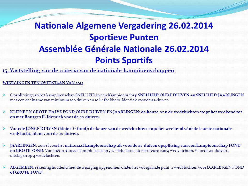 Nationale Algemene Vergadering 26.02.2014 Sportieve Punten Assemblée Générale Nationale 26.02.2014 Points Sportifs 15. Vaststelling van de criteria va