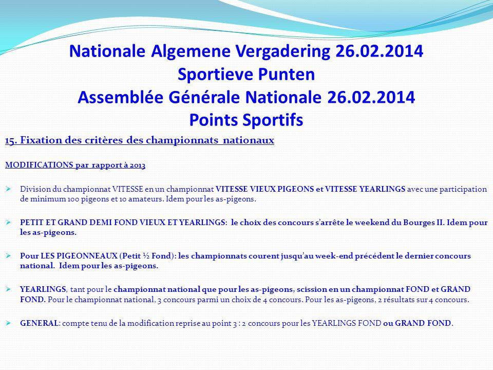 Nationale Algemene Vergadering 26.02.2014 Sportieve Punten Assemblée Générale Nationale 26.02.2014 Points Sportifs 15. Fixation des critères des champ