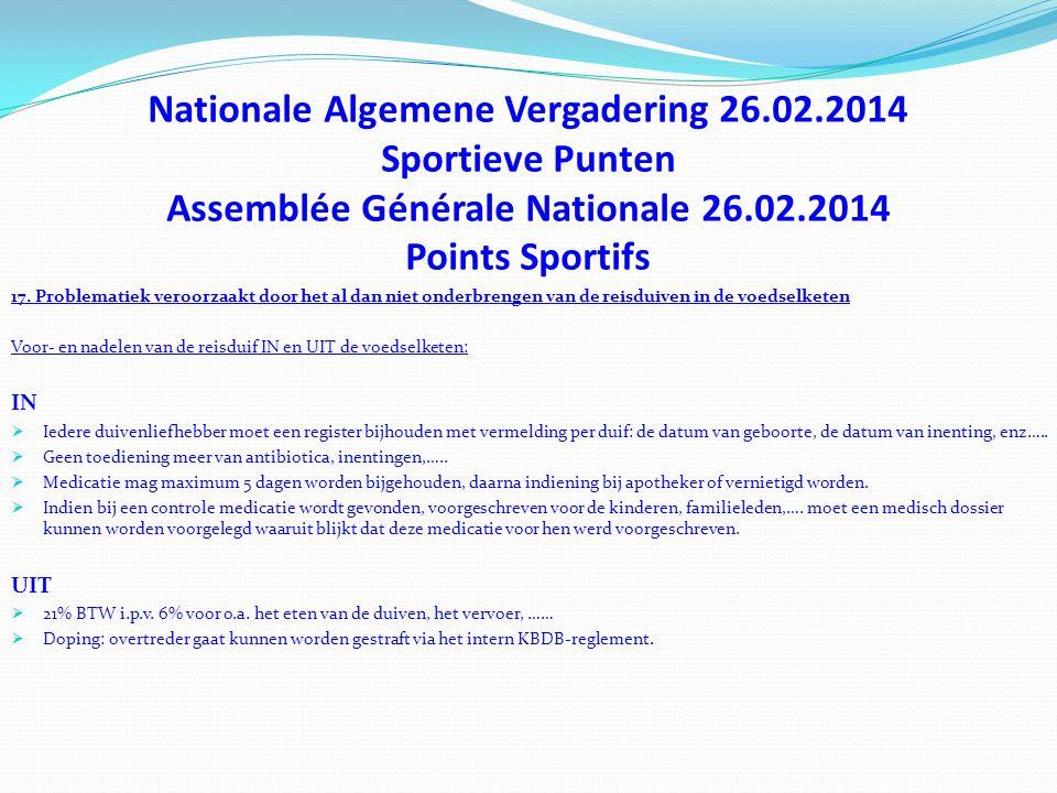Nationale Algemene Vergadering 26.02.2014 Sportieve Punten Assemblée Générale Nationale 26.02.2014 Points Sportifs 17. Problematiek veroorzaakt door h