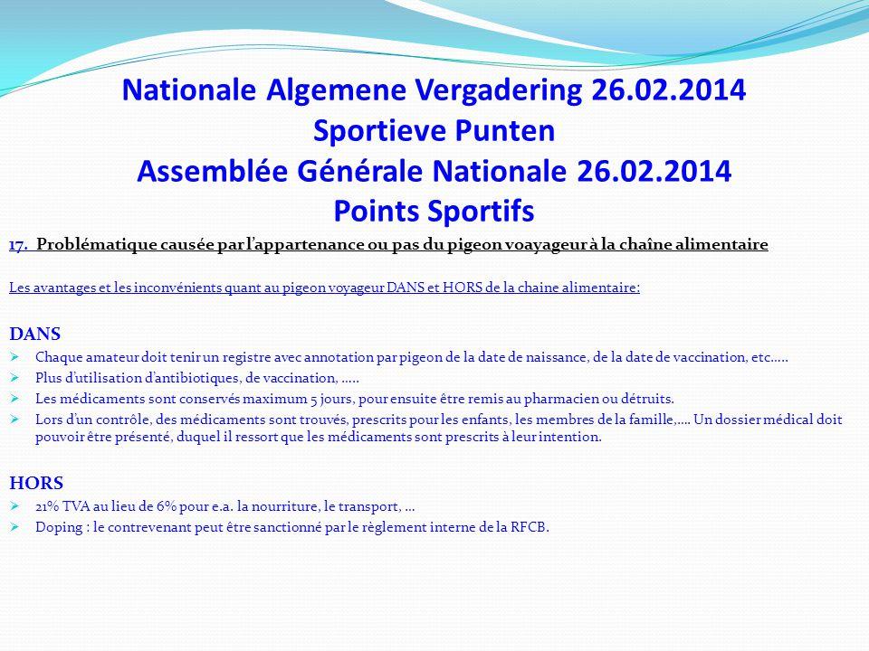 Nationale Algemene Vergadering 26.02.2014 Sportieve Punten Assemblée Générale Nationale 26.02.2014 Points Sportifs 17. Problématique causée par l'appa
