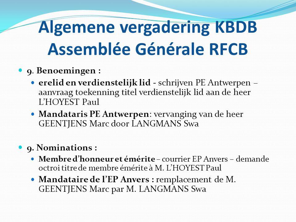 Algemene vergadering KBDB Assemblée Générale RFCB  9. Benoemingen :  erelid en verdienstelijk lid - schrijven PE Antwerpen – aanvraag toekenning tit