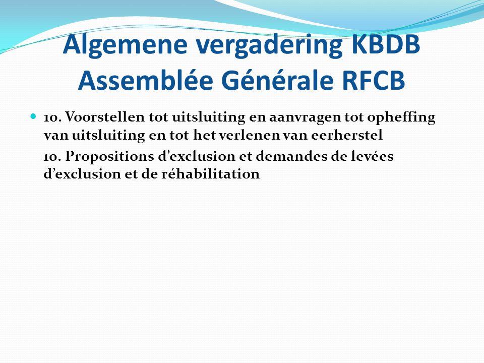 Algemene vergadering KBDB Assemblée Générale RFCB  10. Voorstellen tot uitsluiting en aanvragen tot opheffing van uitsluiting en tot het verlenen van